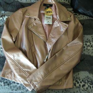 Rose Gold Moto Faux Leather Jacket